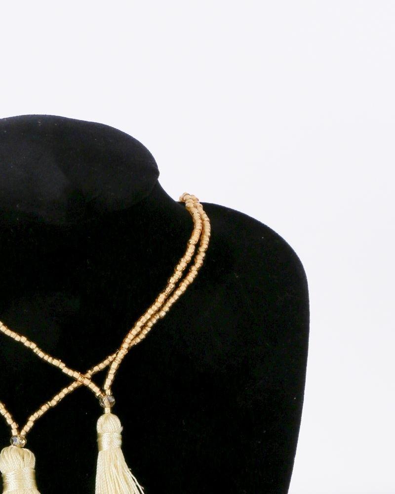 Double sautoir à perles et pompons jaune La Piscine
