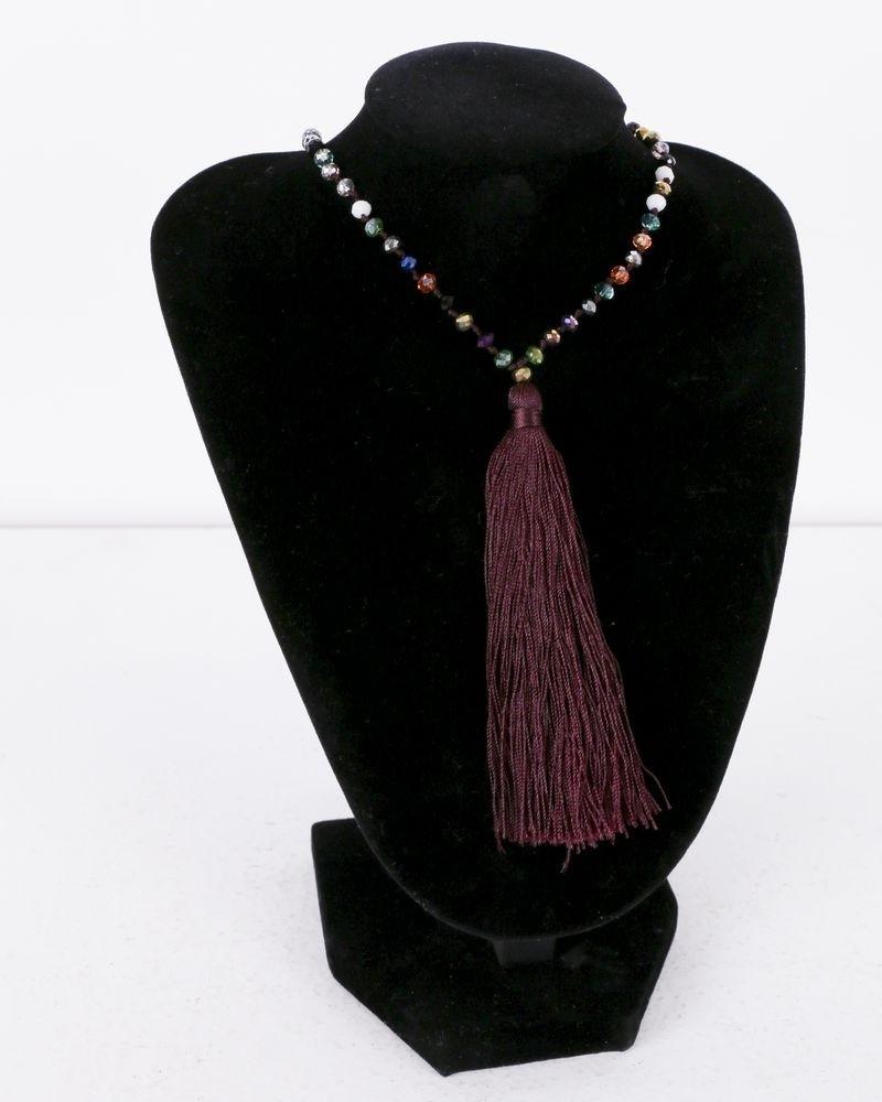 Collier bordeaux à perles multicolores La Piscine