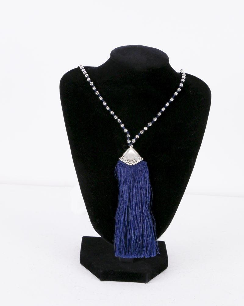 Collier bleu à perles grise La Piscine