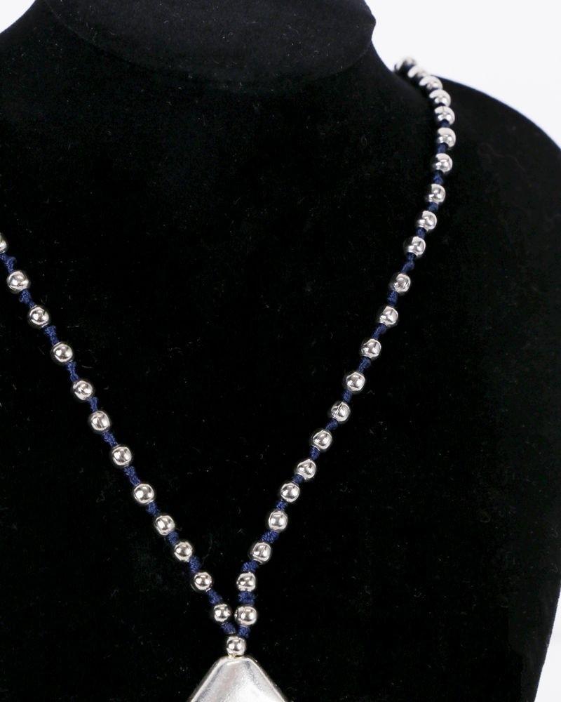 Sautoir de perles grise à frange bleu La Piscine
