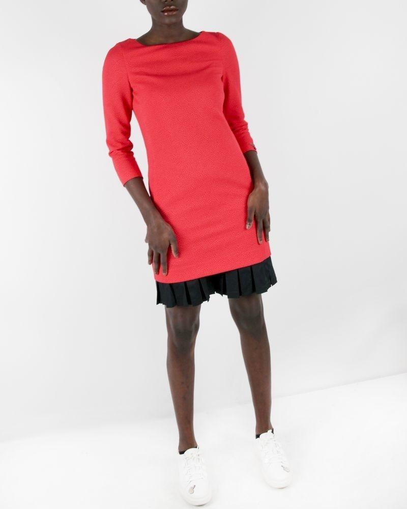Robe rouge à motif texturé et bas plissé Maria Grazia Severi