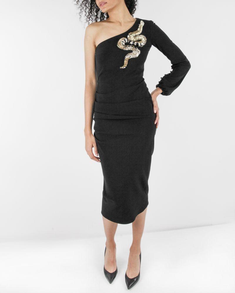 Robe drapée noir à broderie serpent Elisabetta Franchi