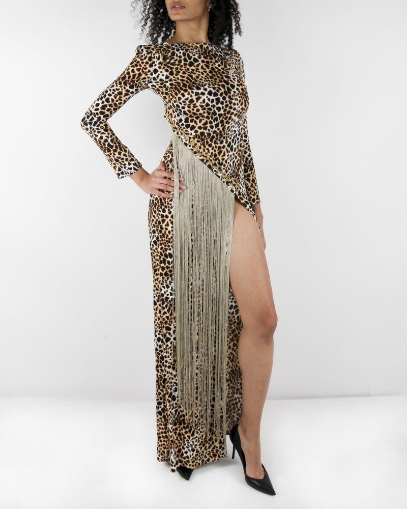 Robe longue animal beige à franges dorées Elisabetta Franchi