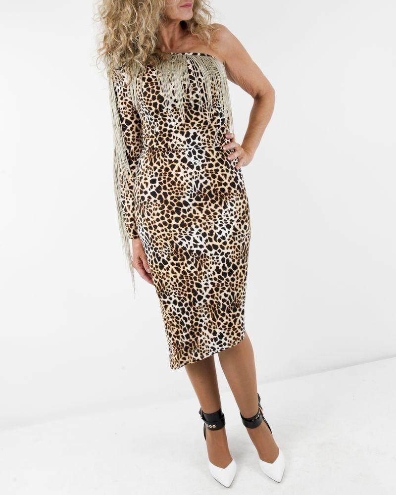 Robe asymétrique léopard beige à franges dorées Elisabetta Franchi