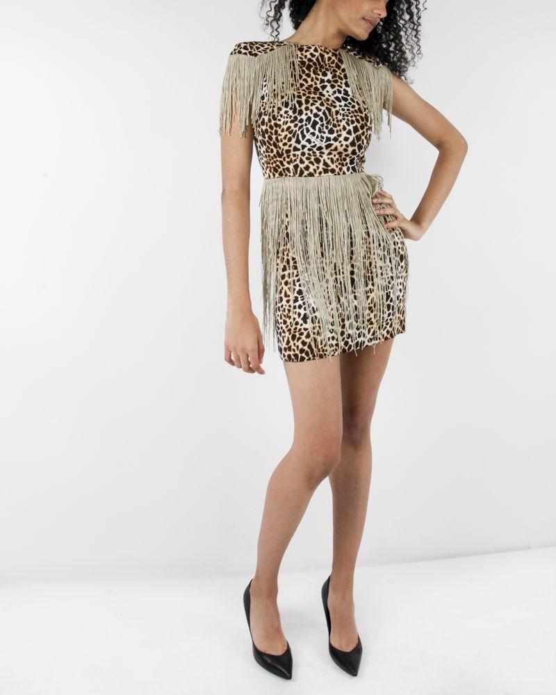 Robe beige imprimé léopard et franges Elisabetta Franchi