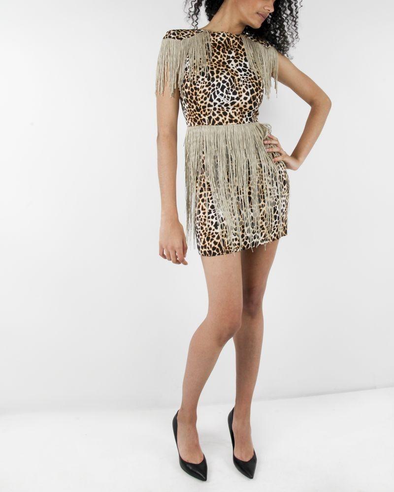 Robe beige imprimé léopard et franges Elisabetha Franchi