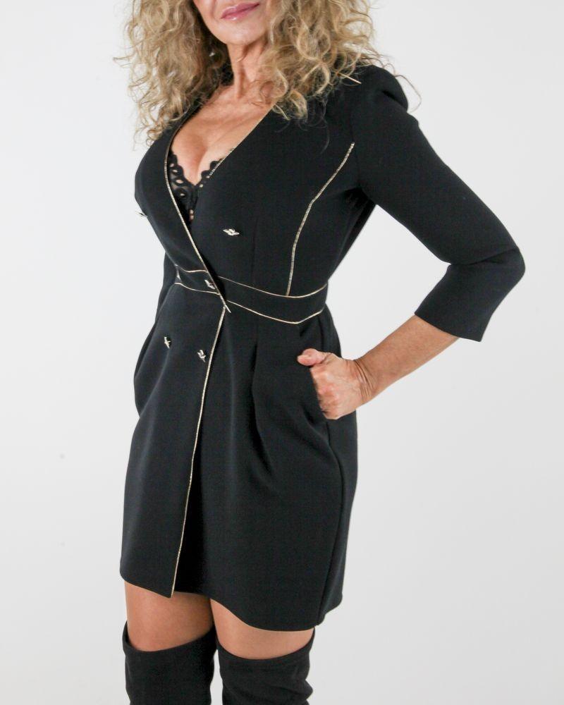 Robe blazer noir à boutons fantaisies Elisabetta Franchi