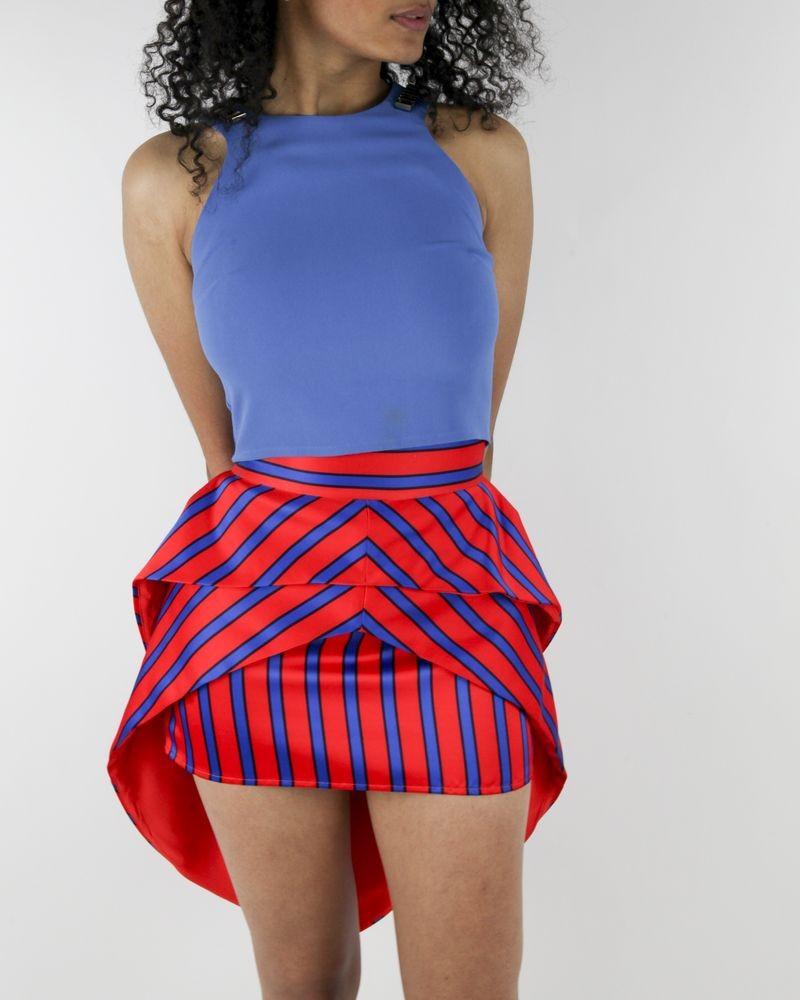 Jupe asymétrique rouge à rayures bleues Elisabetha Franchi