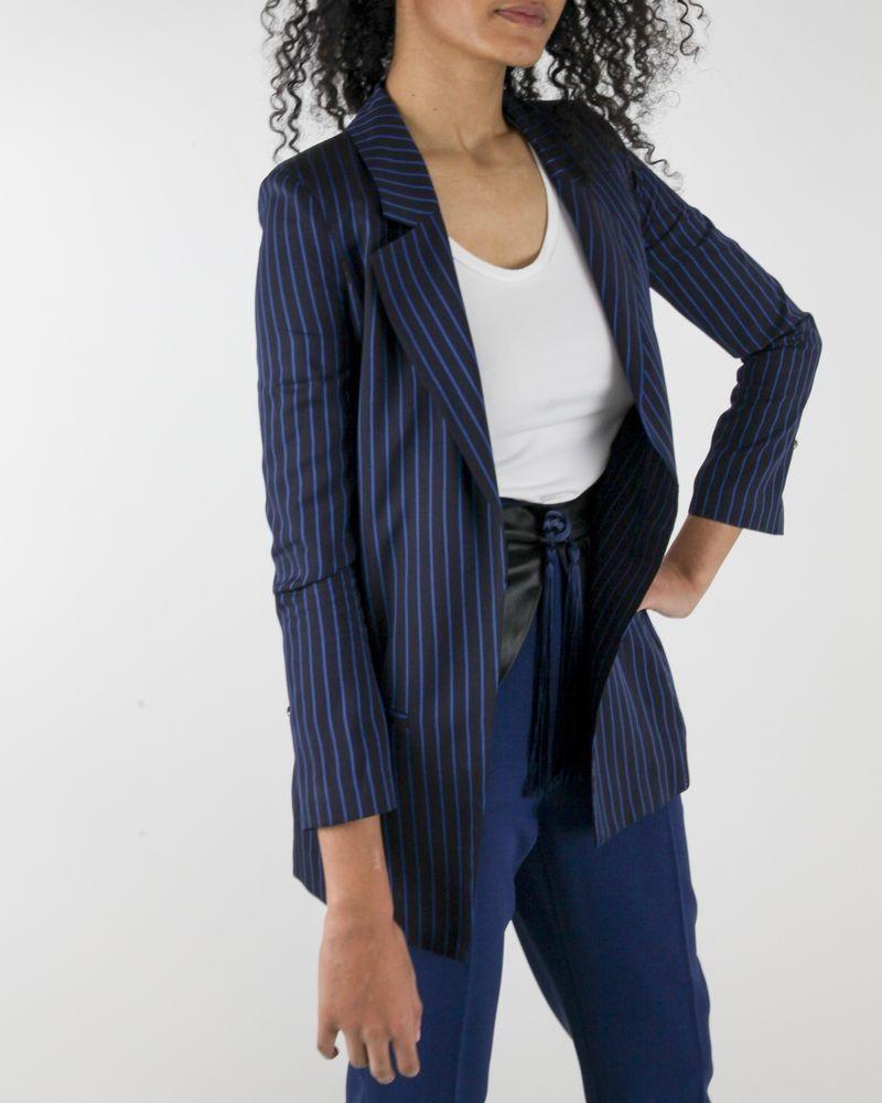Veste de tailleur en crêpe noire à rayures bleue Elisabetha Franchi