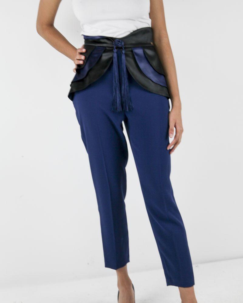 Pantalon chausseur bleu à volant fantaisie Elisabetha Franchi