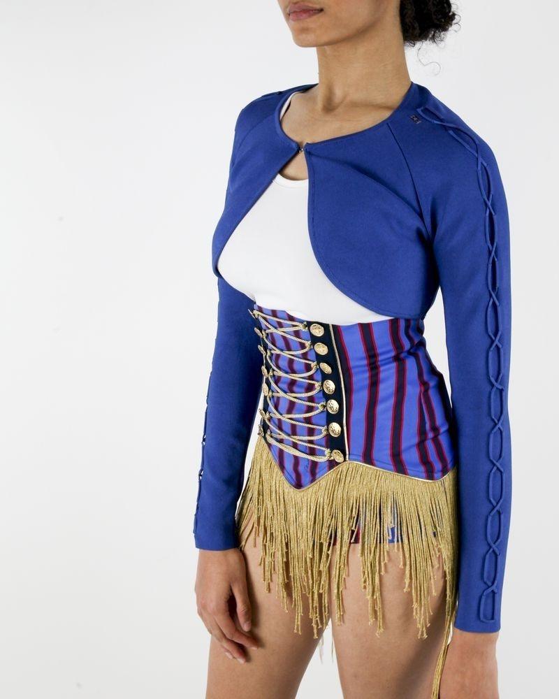 Veste boléro en maille stretch bleu Elisabetta Franchi