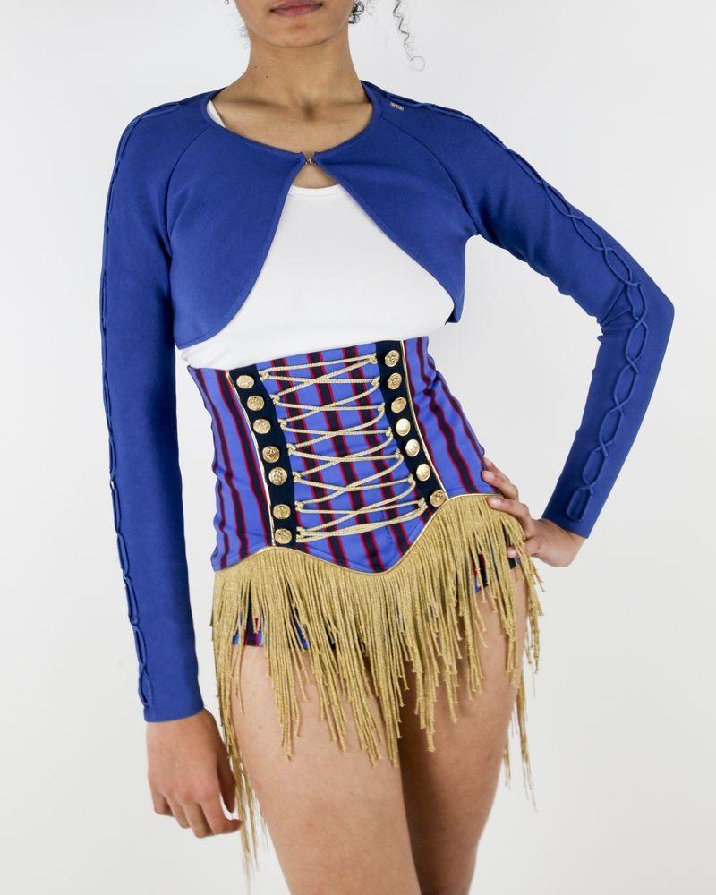 Short culotte bleu à franges Elisabetha Franchi