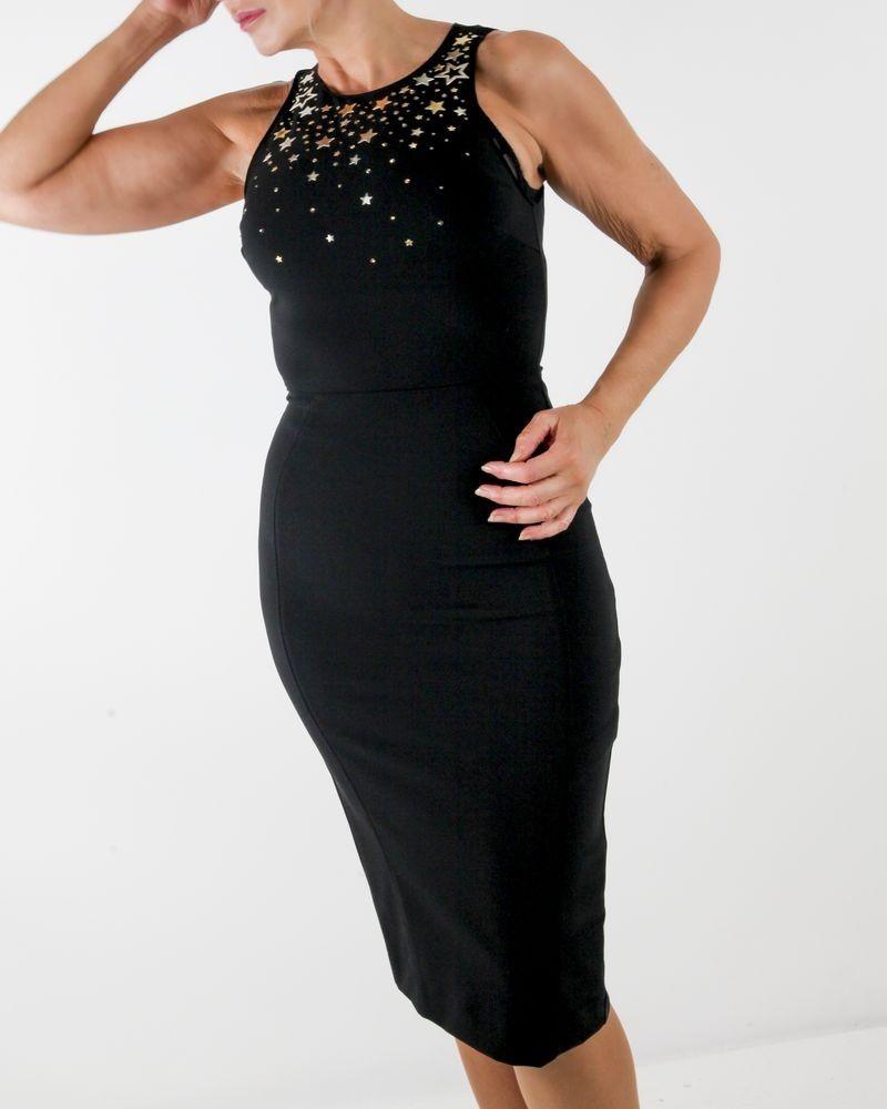 Robe crayon en crêpes noir à broderies étoiles Elisabetta Franchi