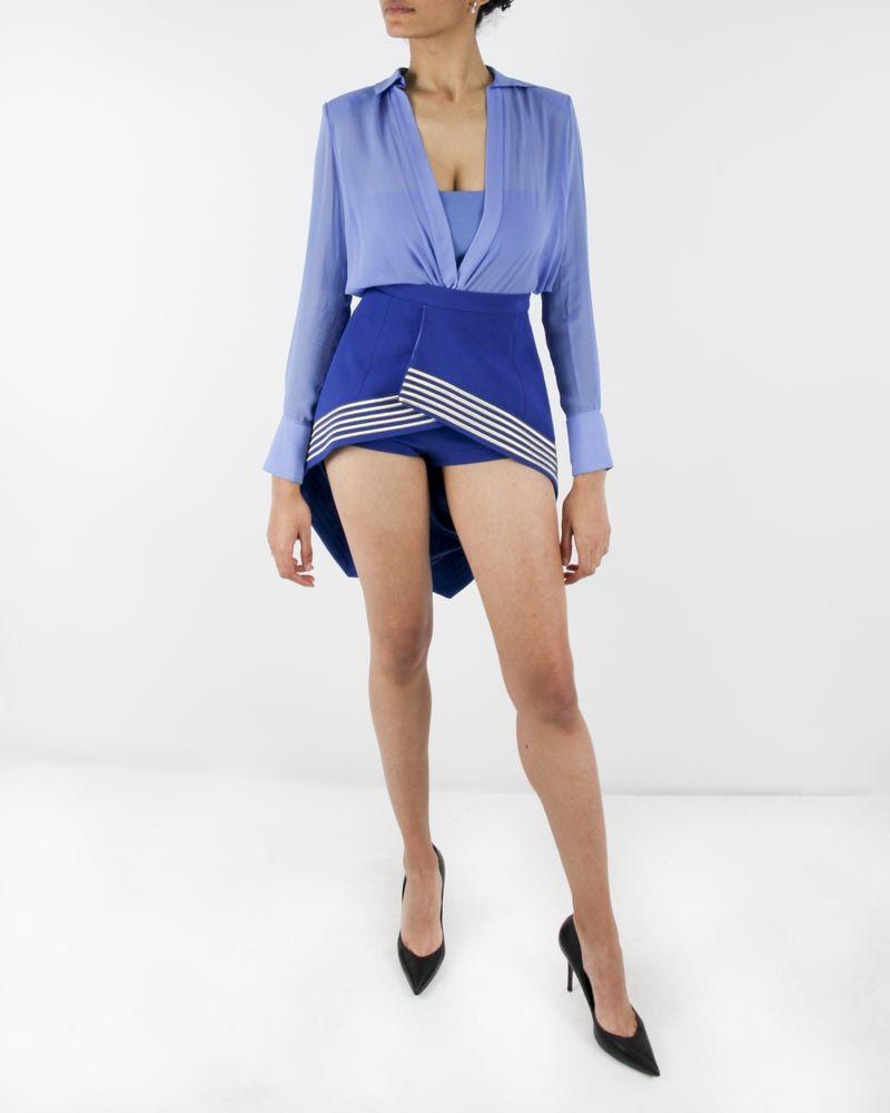 Jupe asymétrique bleue à broderie dorée Elisabetha Franchi