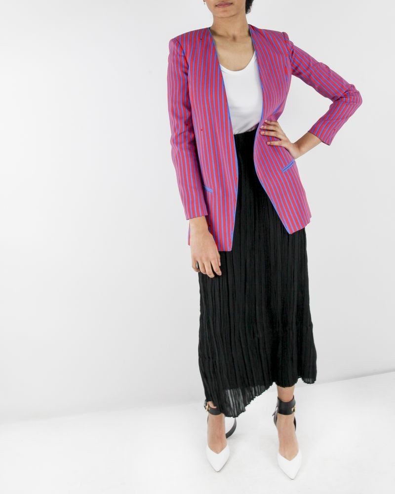 Veste blazer en crêpe bleue à rayures rouges Elisabetha Franchi