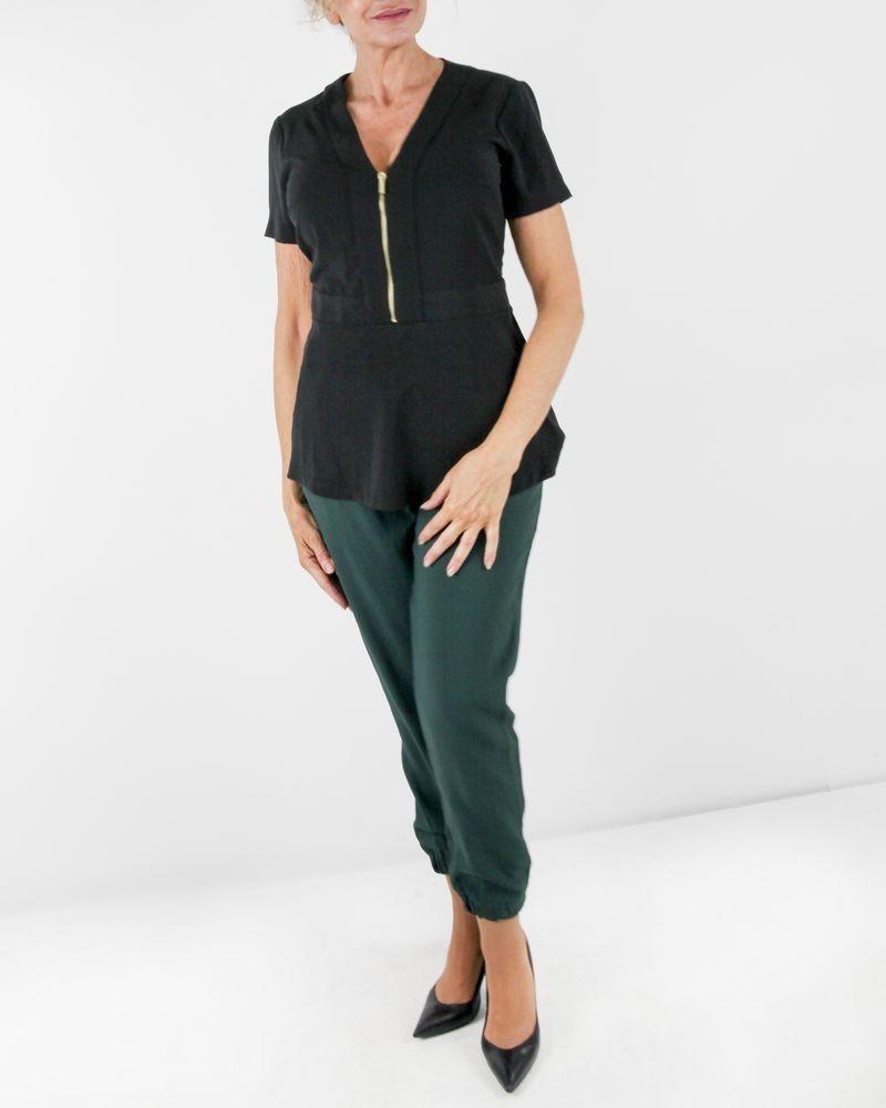Pantalon smocké vert fluide Maria Grazia Severi