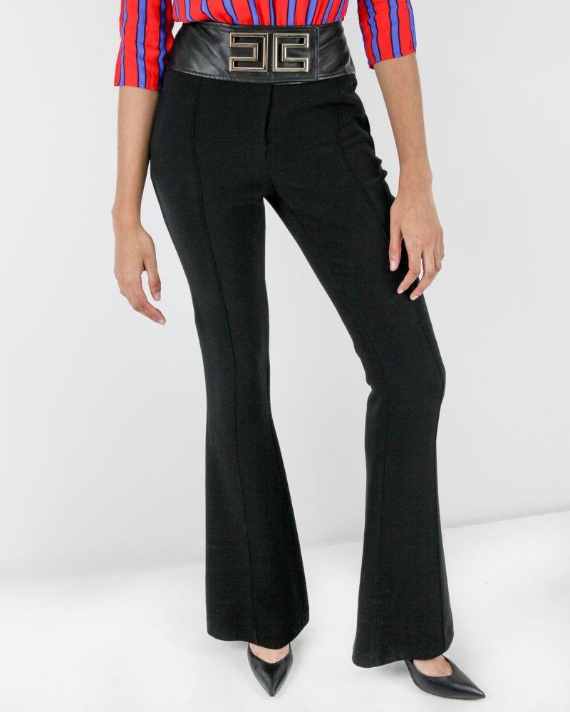 Pantalon palazzo noir à logo doré Elisabetha Franchi