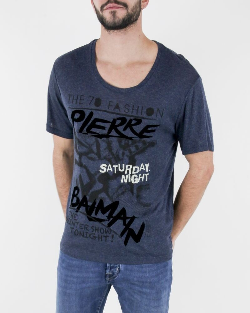 "T-Shirt bleu ""Saturday Night"" Balmain"