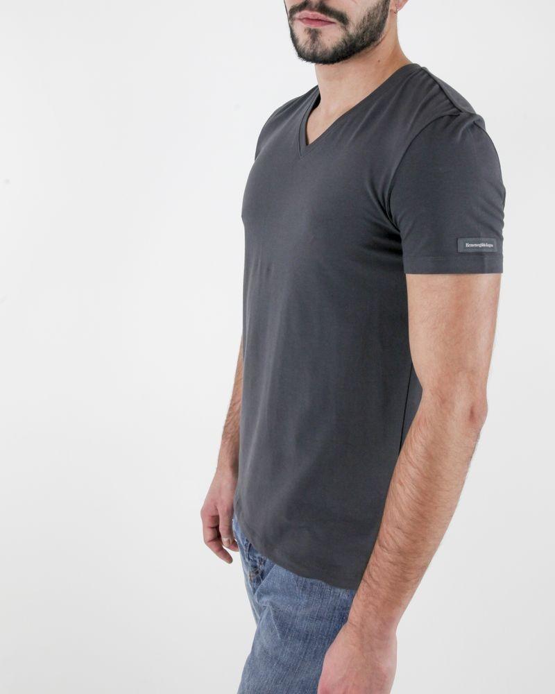 T-Shirt en modal gris à manches courtes col V Ermenegildo Zegna
