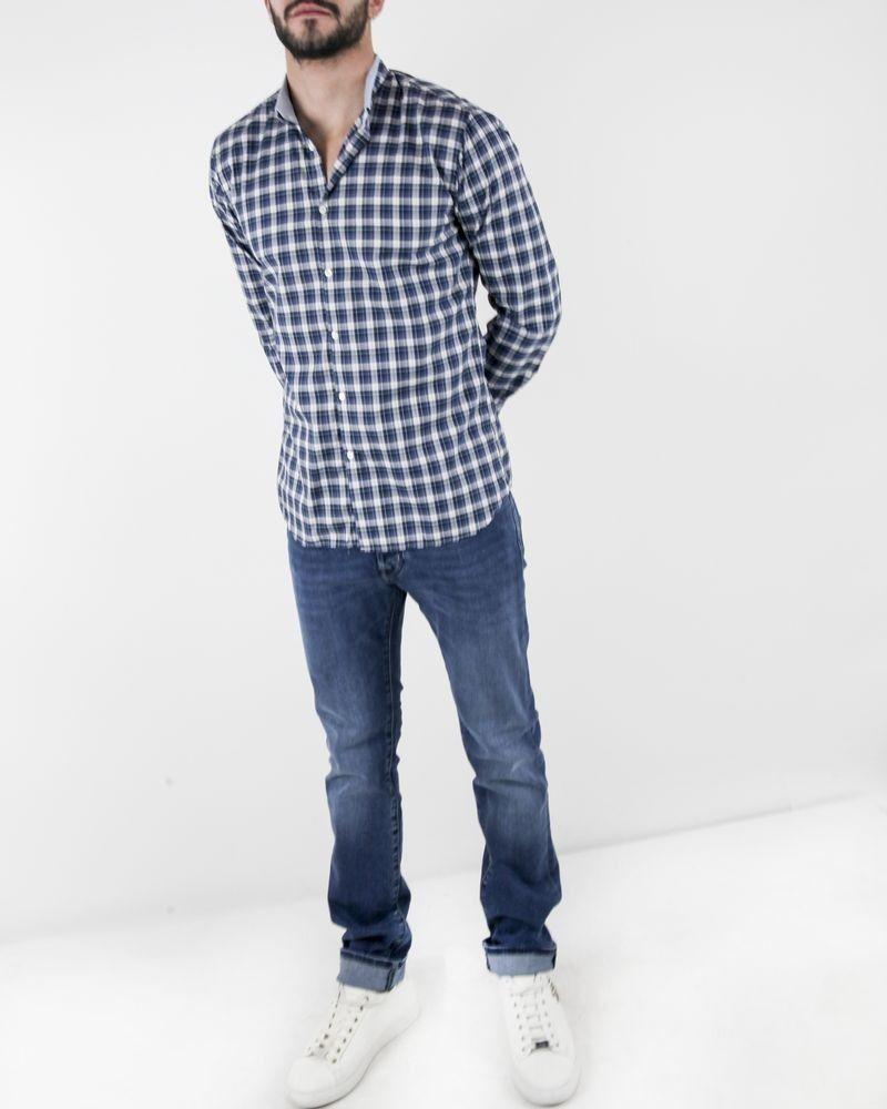 Chemise col hybride mao bleu à carreaux Aglini