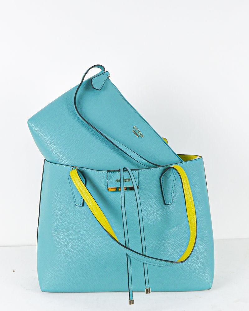 Sac à main cabas bleu reversible jaune à pochette Guess