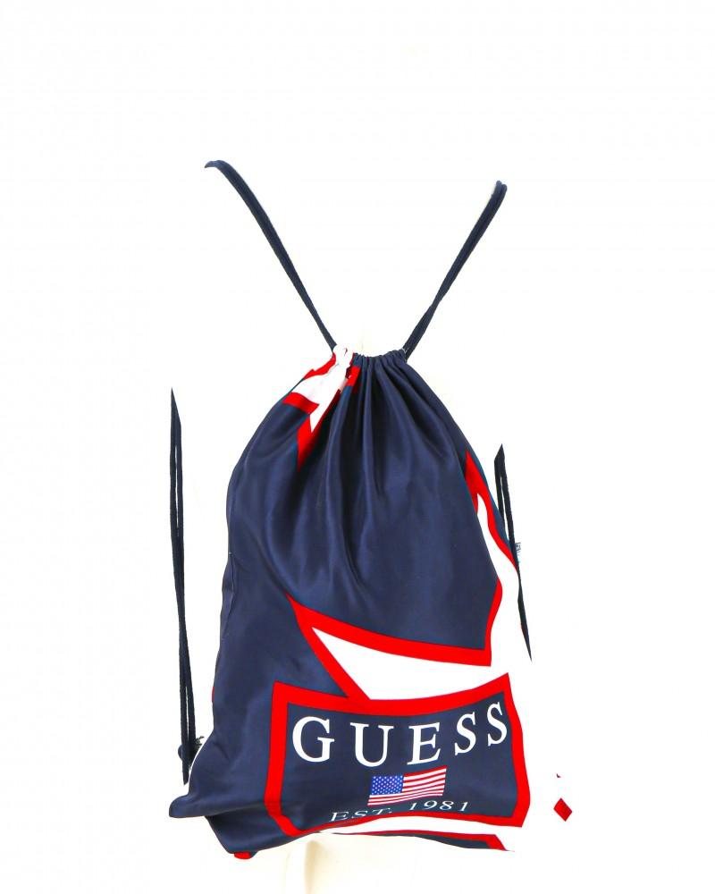 Sac à dos de gymnase bleu à drapeau USA Guess