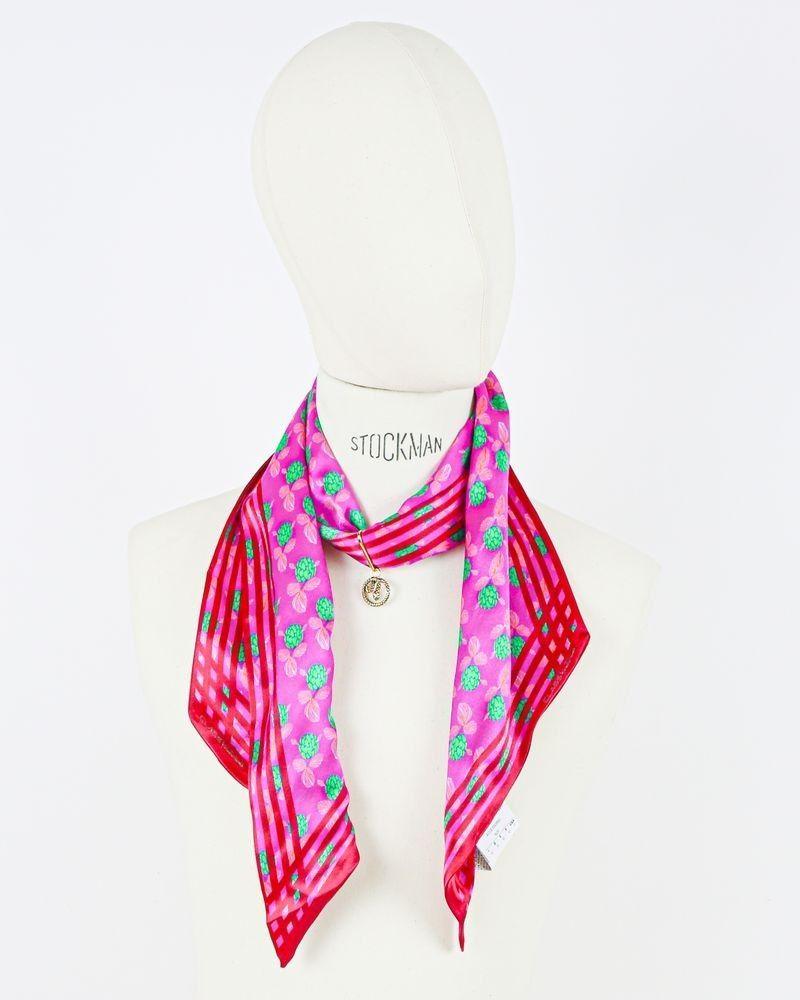 Foulard collier rose en soie Roberto Cavalli
