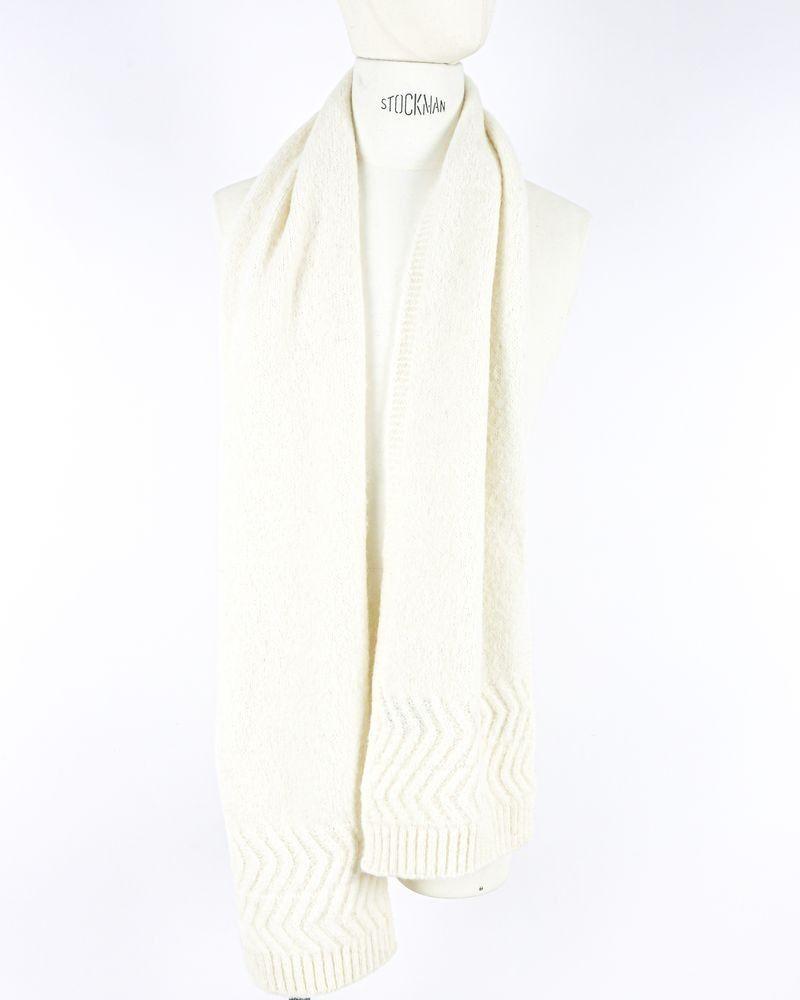 Grande écharpe en alpaga beige à finitions chevrons Daniele Fiesoli