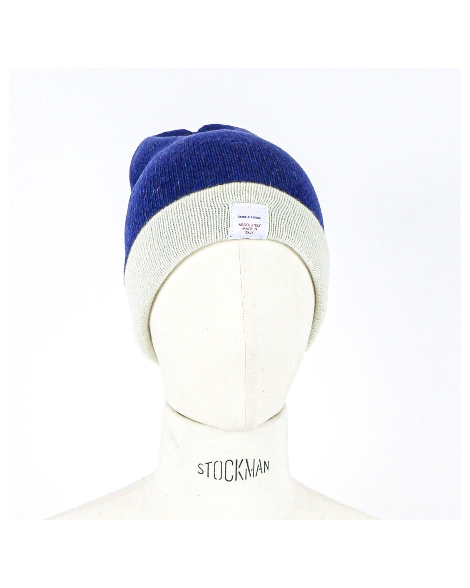 Bonnet en alpaga bleu à revers beige Daniele Fiesoli