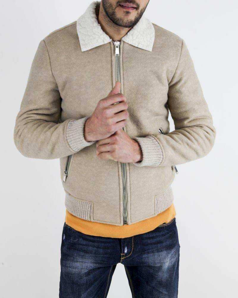 Veste en laine beige à col bouclette Daniele Fiesoli