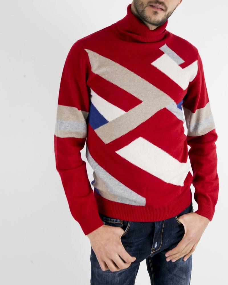 Pull col roulé en mérinos rouge à motif géométrique Daniele Fiesoli