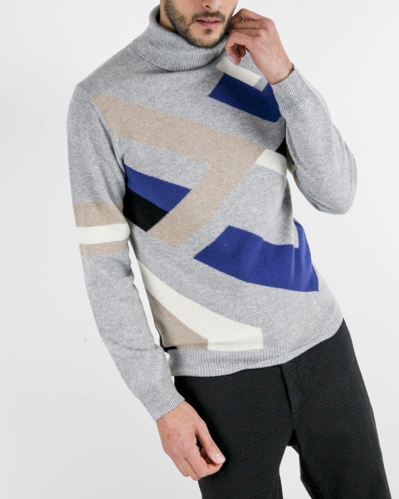 Pull col roulé en mérinos gris à motif géométrique Daniele Fiesoli