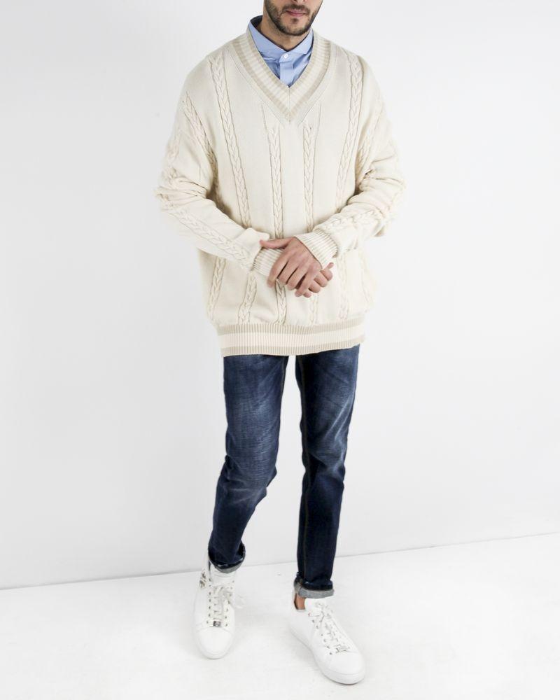 Pull over size beige torsadé John Galliano
