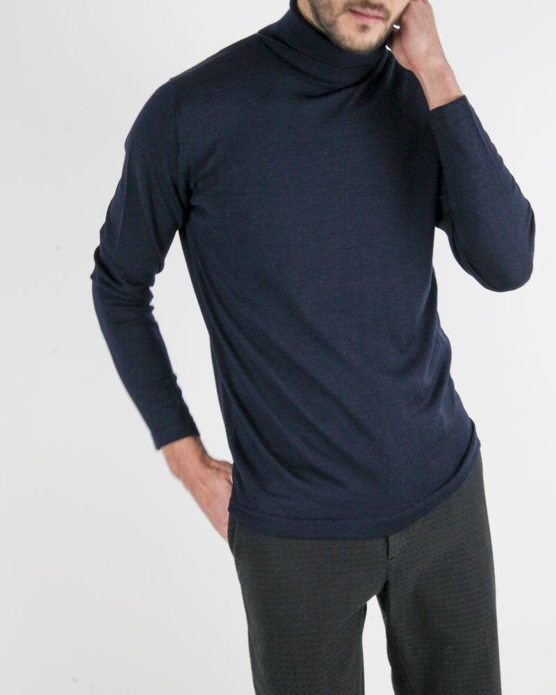 Pull à col roulé en laine et soie bleu Daniele Fiesoli