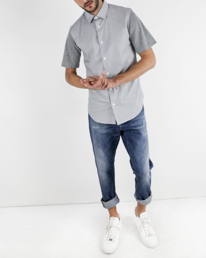 Chemise en coton blanc à manche jersey gris Marchand Drapier