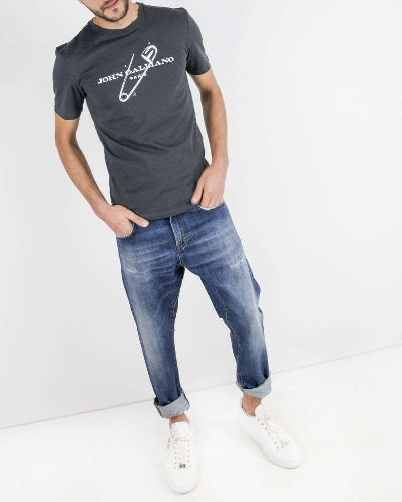 T-Shirt en coton gris à logo flocké John Galliano