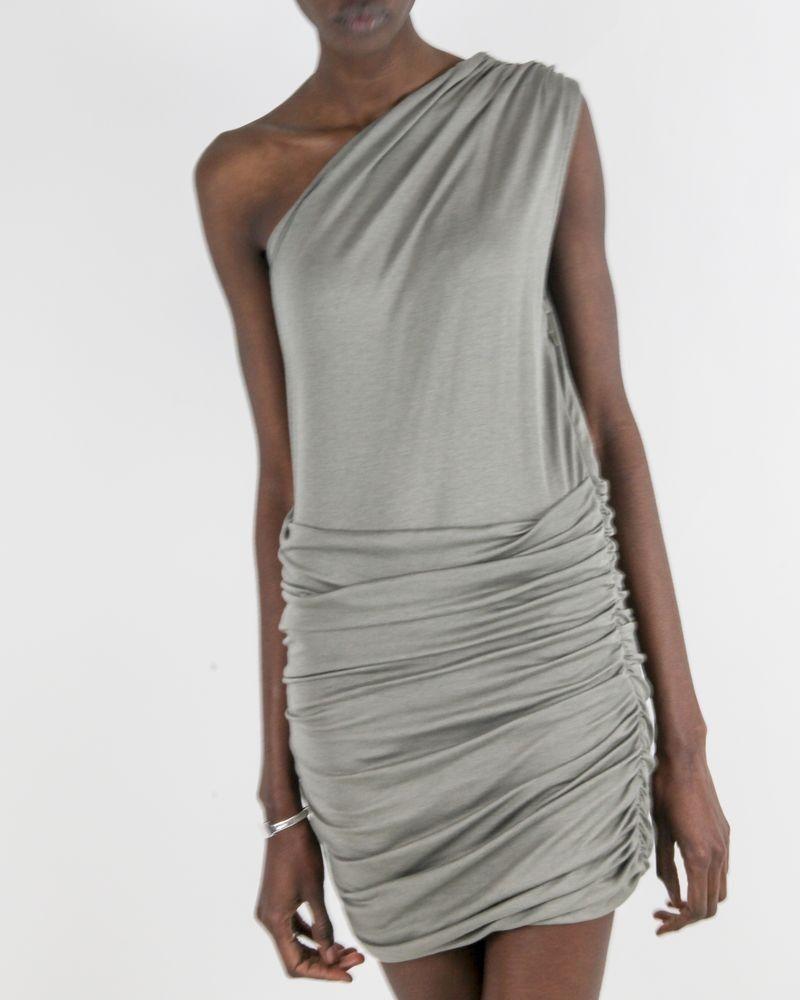 Robe froncé asymétrique grise Balmain