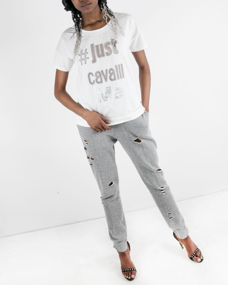 T-shirt blanc à logo ajouré et perlé Roberto Cavalli