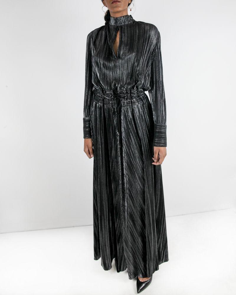 Robe longue en lurex argent plissé Balmain