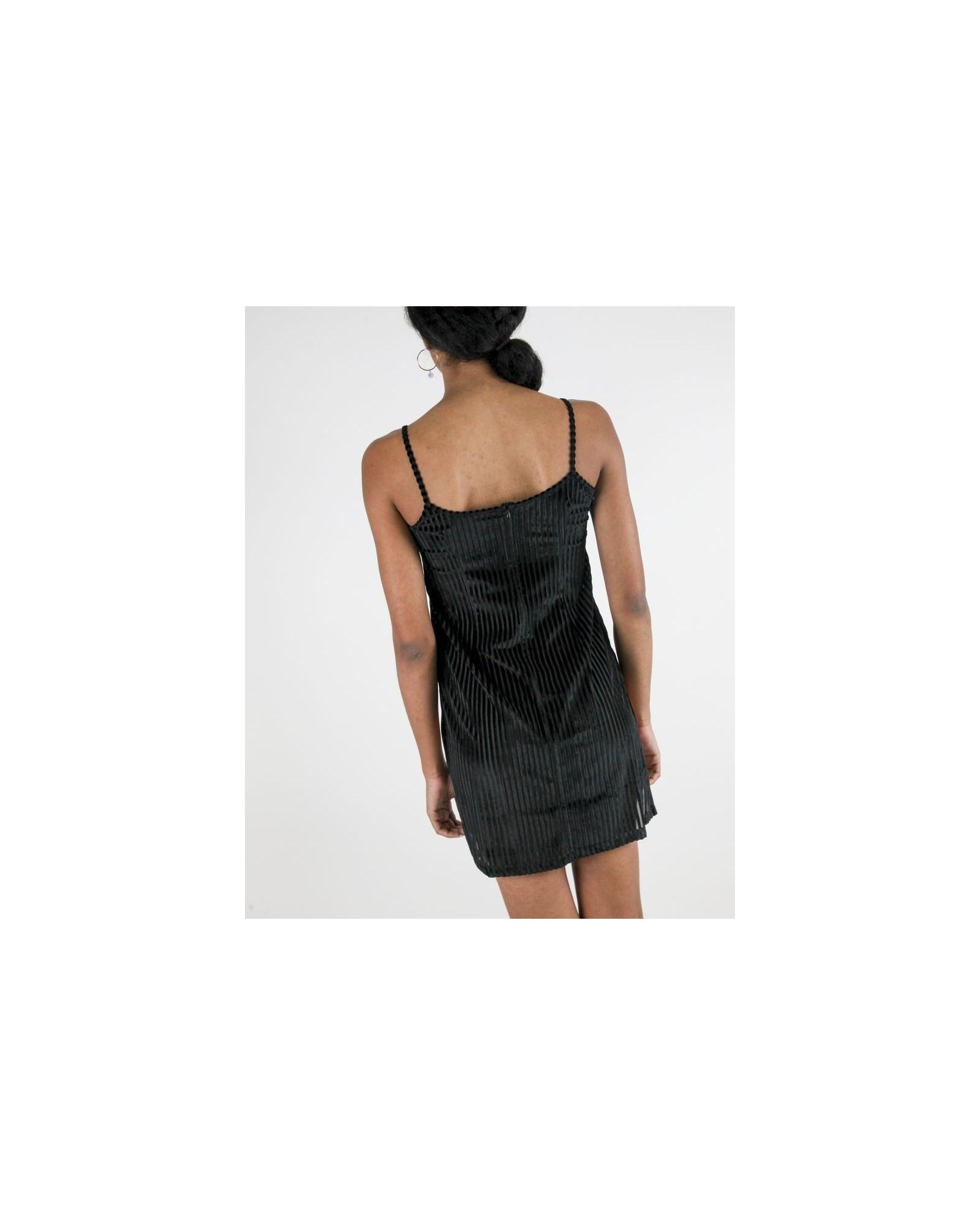 Robe caraco en tulle noir à rayures de velours Jijil
