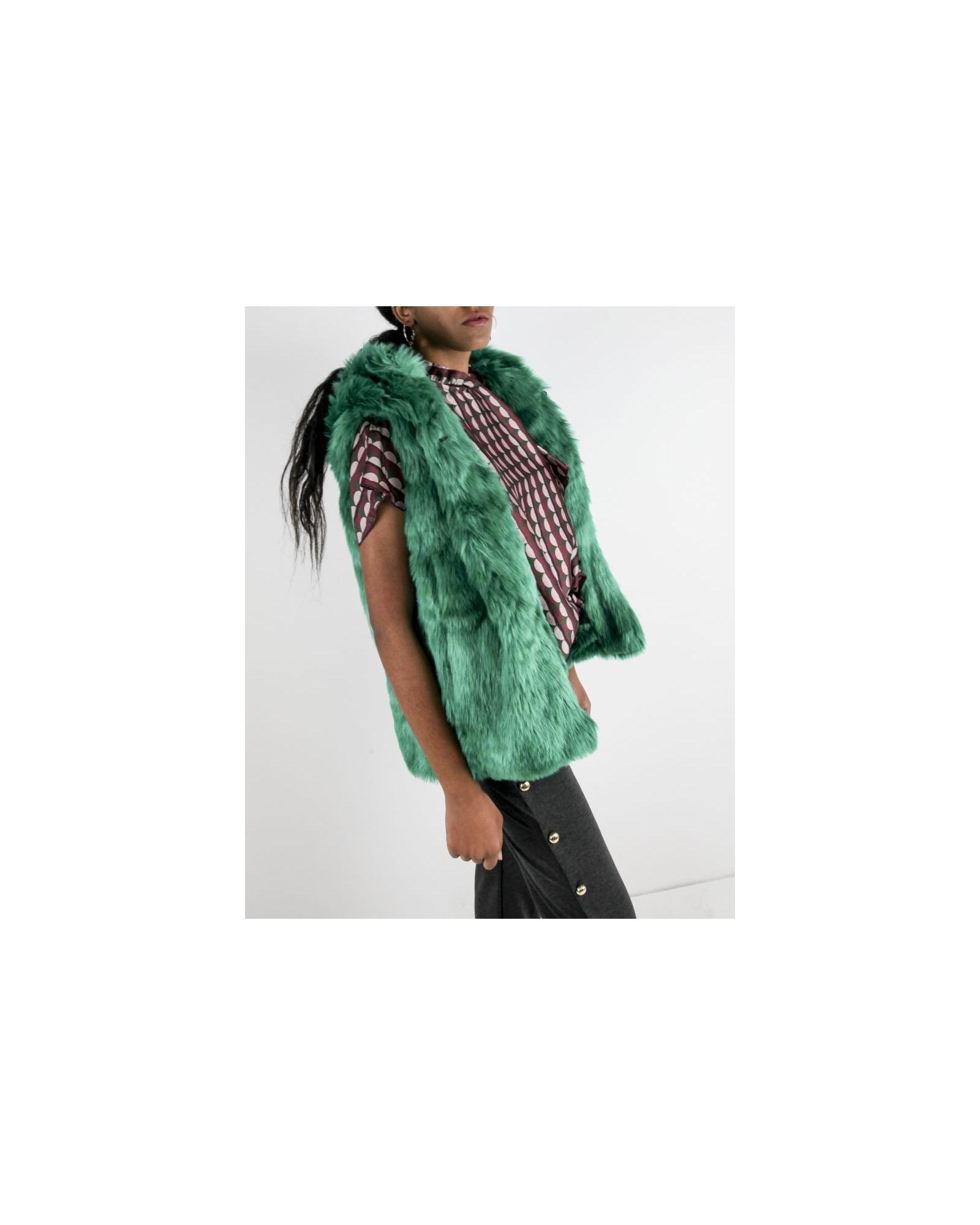 Manteau sans manches en fourrure synthétique verte Jijil