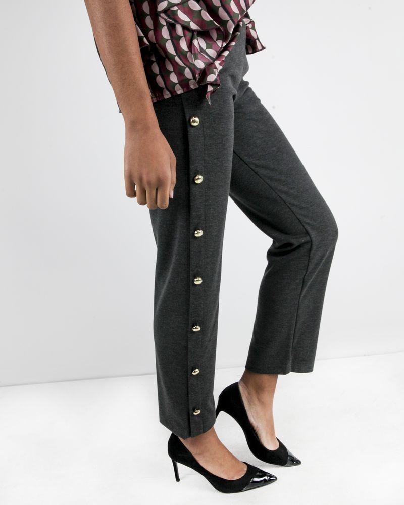 Pantalon jogging gris chiné à boutons dorés Jijil
