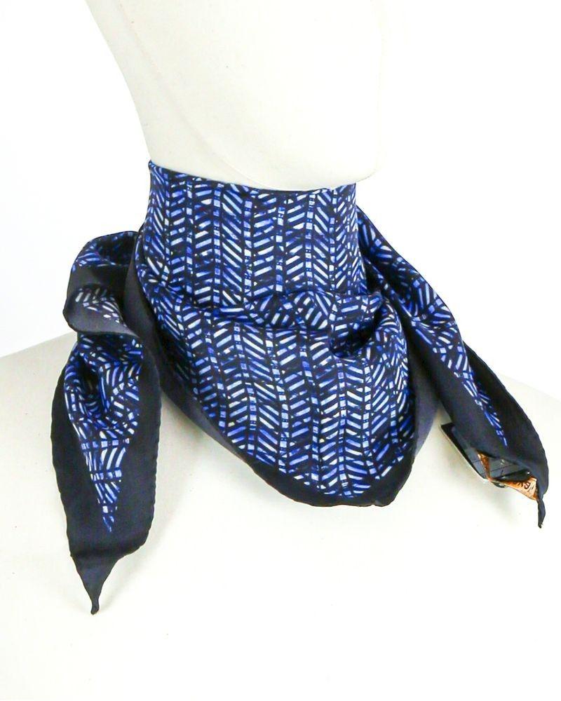 Foulard triangle en soie bleu Roberto Cavalli
