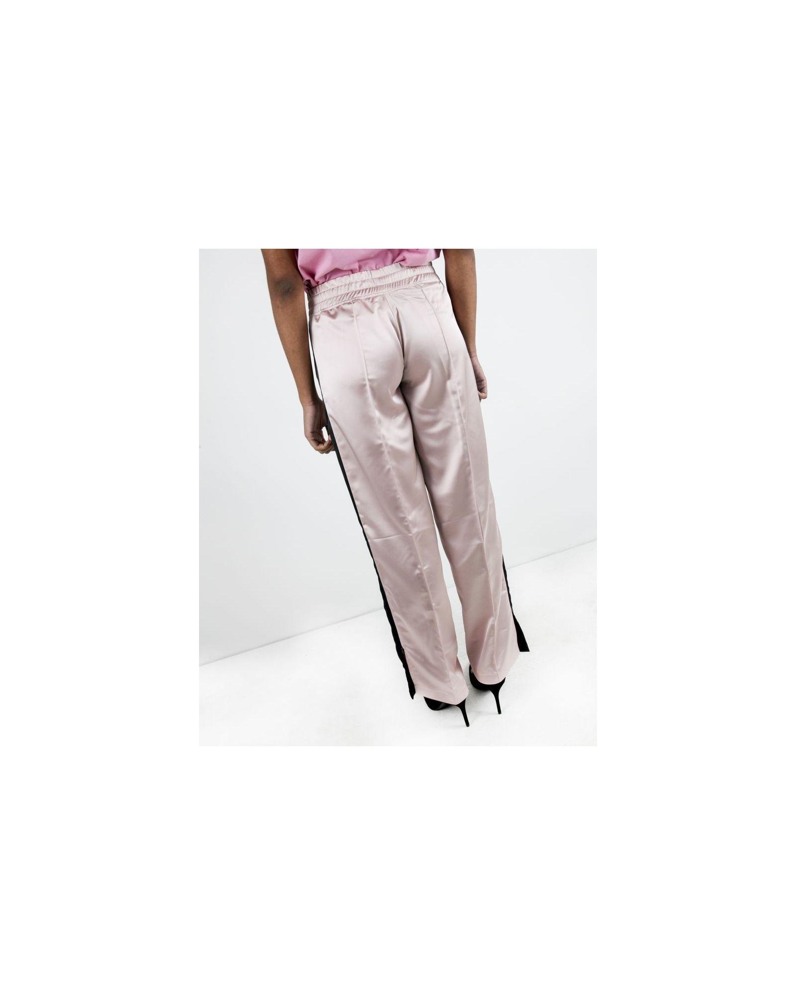 Pantalon jogging en satin rose à bandes latérales Jijil