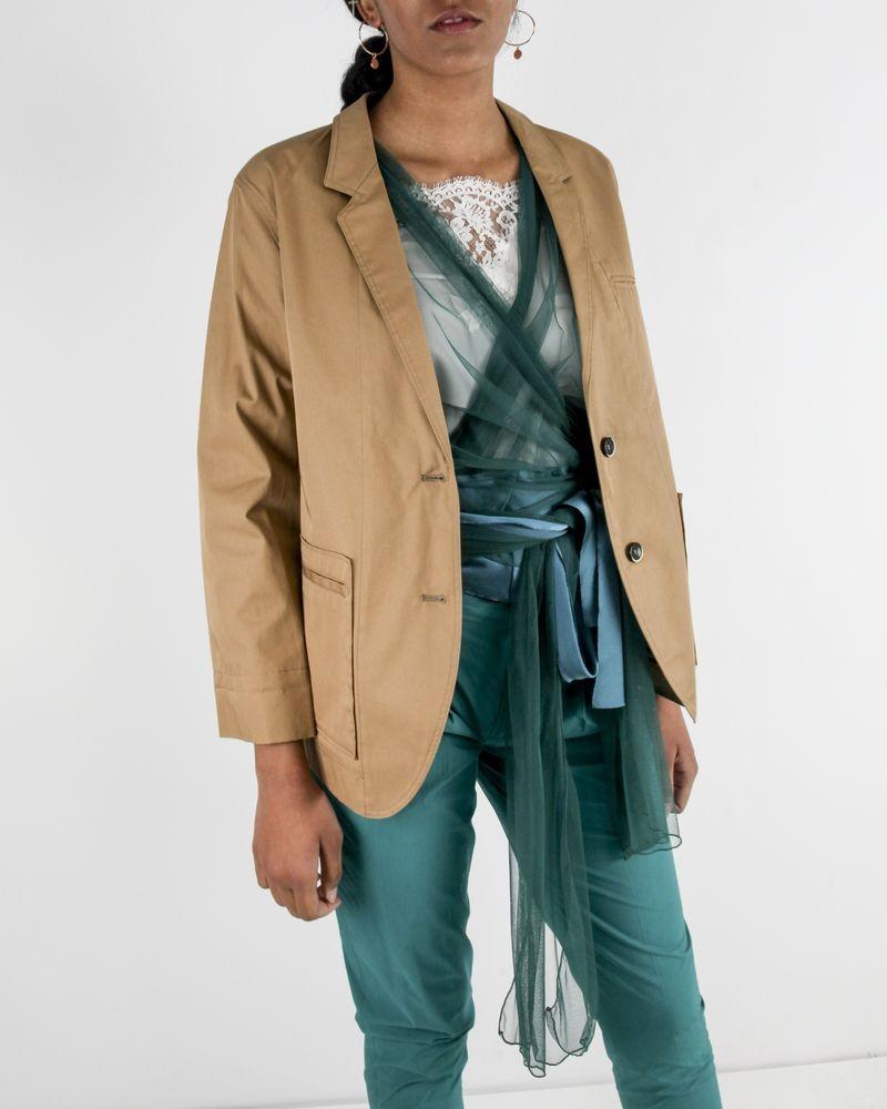 Veste de tailleur légère en coton camel Forte Forte