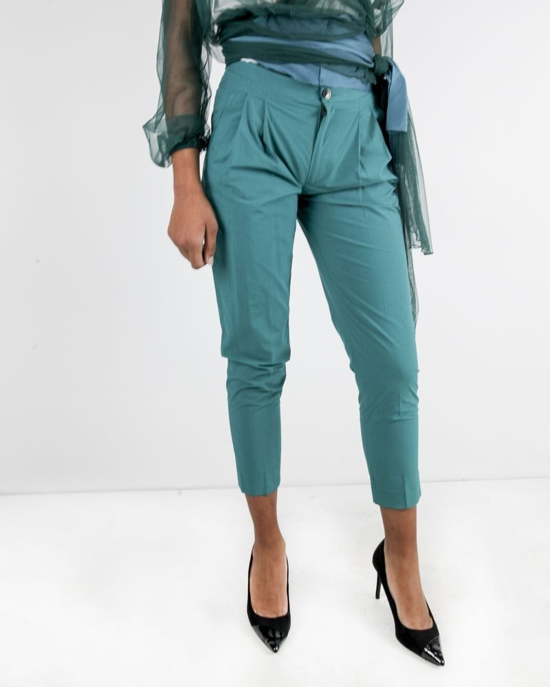 Pantalon à pinces en coton vert Forte Forte
