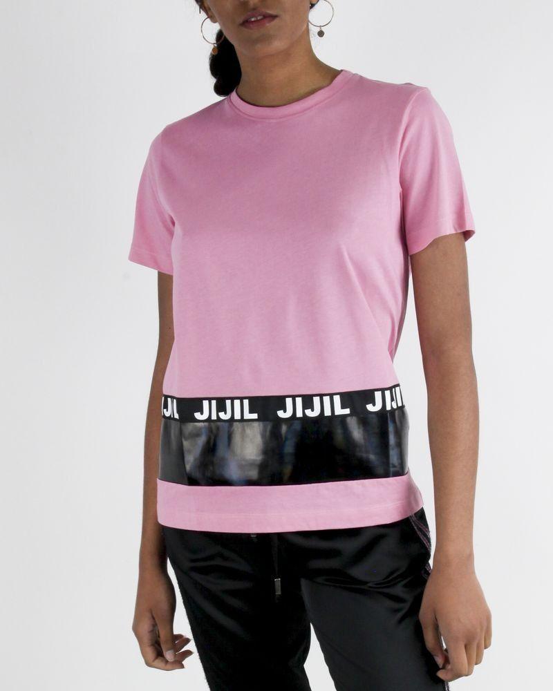 T-Shirt rose à bande de vinyle griffé Jijil