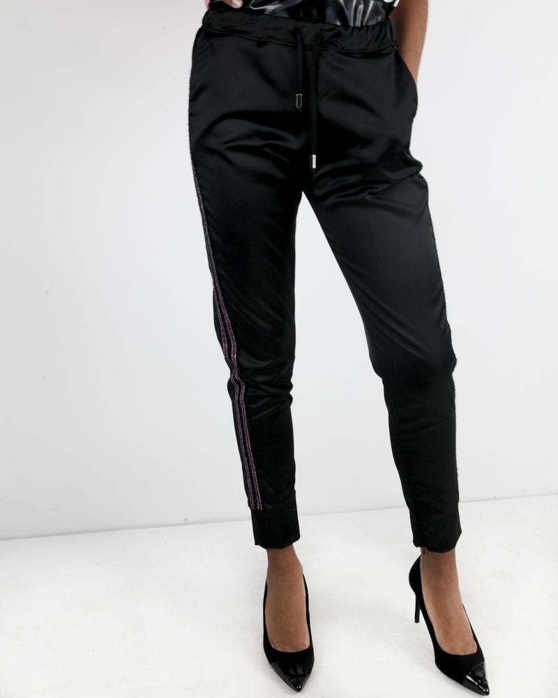 Pantalon jogging en satin noir à bandes latérales Jijil