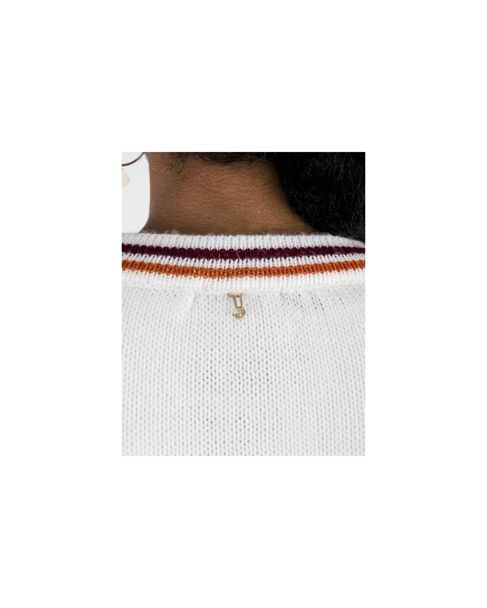 Gilet en maille blanche à rayures fantaisies Jijil
