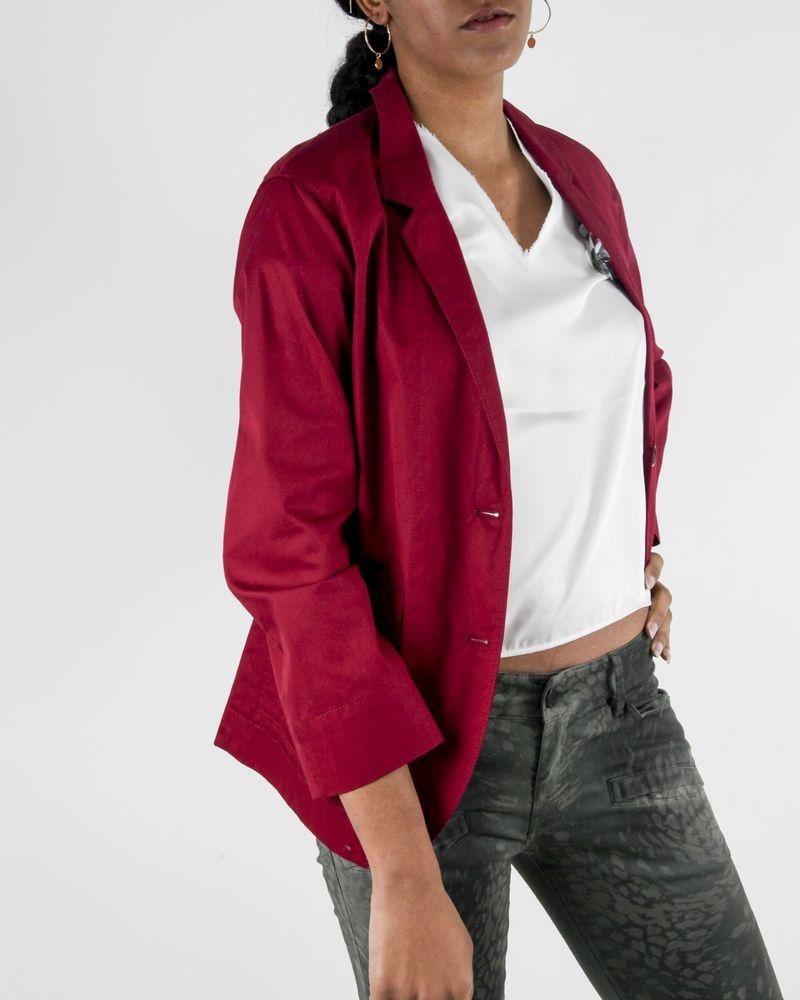 Veste de tailleur légère en coton rose Forte Forte